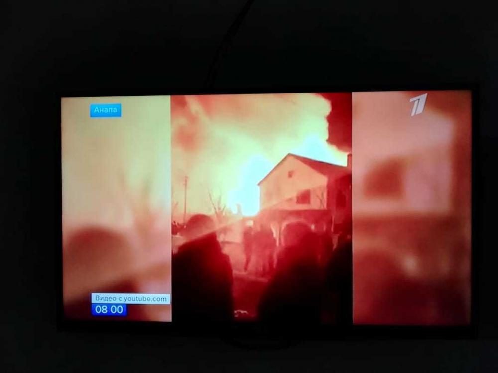 О пожаре в Анапе рассказали на Первом канале. Сгорел мини-отель