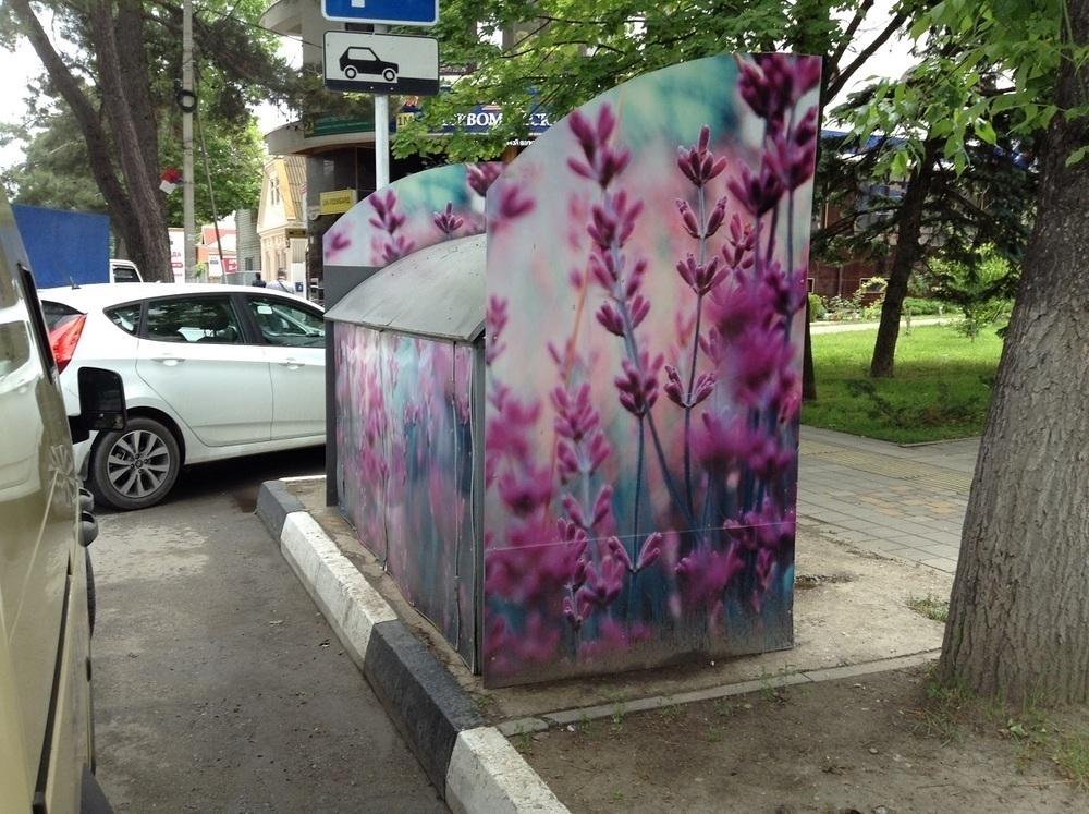 Мусорные накопительные контейнеры Анапы раскрашены в цветочек